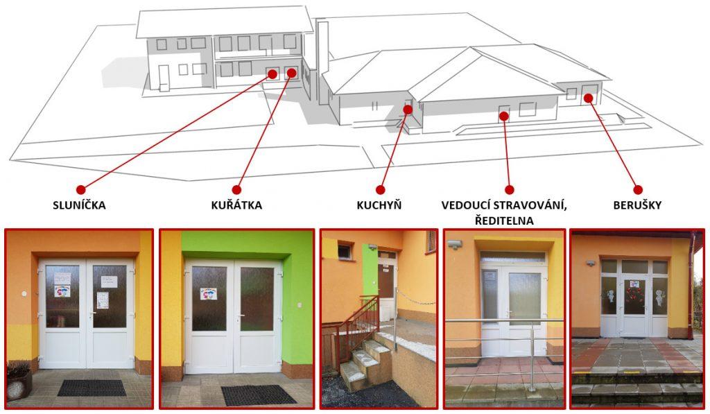 Obrázek - schéma vchodů do mateřské školy Hošťálková